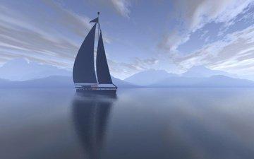 облака, пейзаж, море, утро, яхта, парус