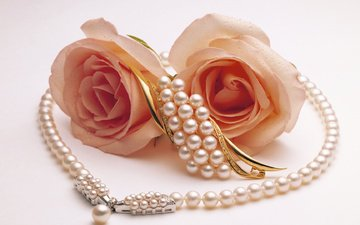 roses, pearl, two, brooch