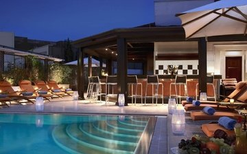 interior, pool, bar, house, sunbeds, chairs, hause
