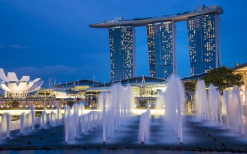 огни, архитектура, голубая, фонтаны, неба, высотки, сингапур, gardens by the bay, ноч