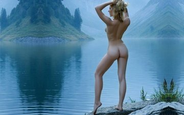 girls, ass, nude, lake, blonde, boobs, legs, julia s