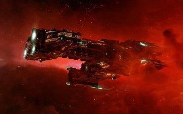 космос, красный, галактика, шатл, гиперион