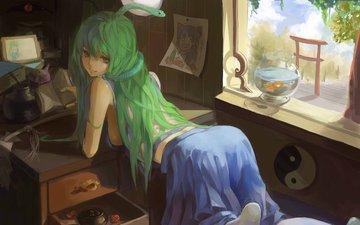 девушка, комната, змея, окно, аквариум, рыбка, рыба, змейка, kochiya sanae, тохо