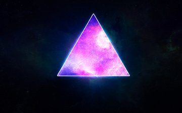space, stars, planet, triangle