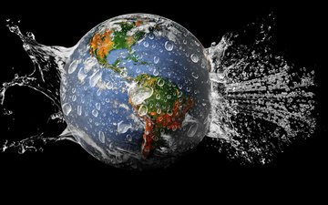 water, earth, planet, drops
