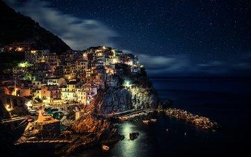 ночь, море, звезды, город, италия, province of la spezia, northern italy, ноч, лигурия, манарола
