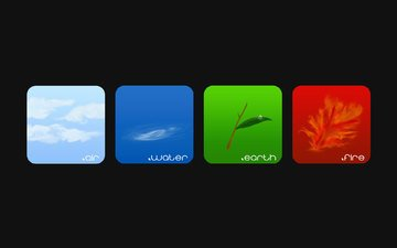 the sky, clouds, water, branch, earth, green, flame, blue, leaf, fire, red, the air, squares, black background, air, elements