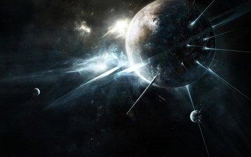свет, космос, лучи, планеты, пространство