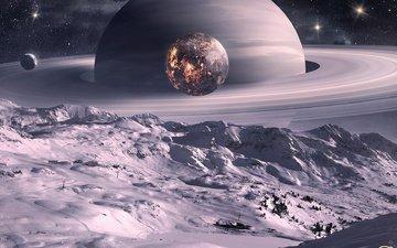 арт, космос, луна, планеты, спутник, кольца, qauz