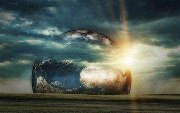 небо, солнце, космос, тучи, фантастика, планеты, дождь