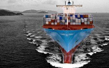 море, судно, на ходу, estelle, maersk line, контейнеровоз