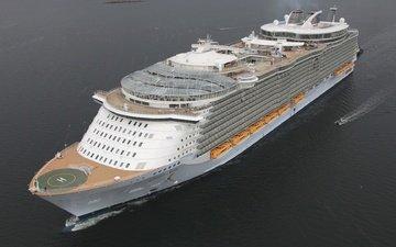 море, белый, судно, лайнер, огромный, oasis of the seas