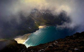 горы, природа, тучи, пляж, исландия, бухта