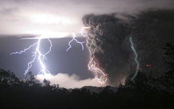 небо, красота, молнии, извержение, пепел, стихия, чили, вулкан чайтен