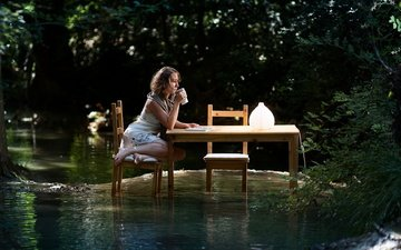 water, girl, the situation, table, the flood