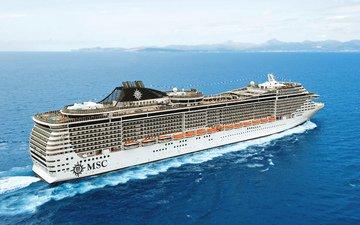 море, белый, судно, лайнер, круиз, на ходу, msc, splendida