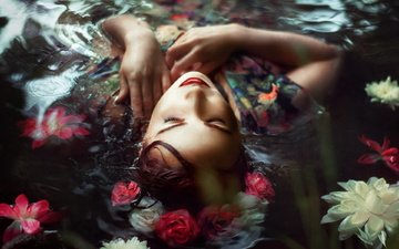 flowers, water, girl, the situation