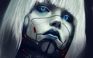 арт, металл, линии, девушка, робот, волосы, лицо