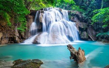 река, лес, водопад, ландшафт, изумруд