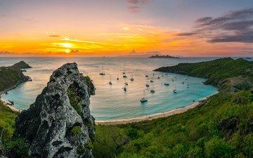 море, утро, пляж, рассвет, яхты, бухта