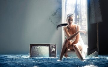 girl, tv, the situation, the flood