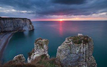 скалы, природа, закат, пейзаж, море, побережье, франция, арка, нормандия