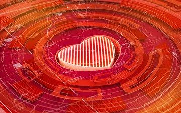 сердце, круг, рендер, 3д, hq wallpaper