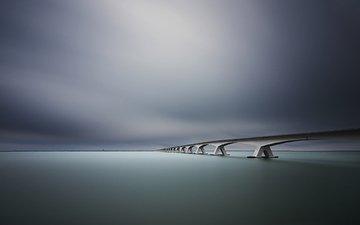 river, bridge, the horizon line