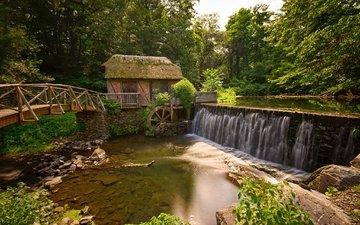 река, лес, мост, мельница, gomez mill house, marlboro, нью - йорк