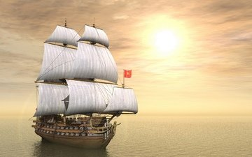небо, корабль, парусник, океан, мачты, пушки, паруса