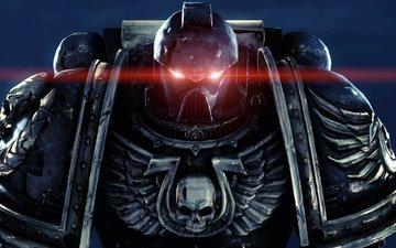 глаза, шлем, крылья, красный, череп, броня, доспехи, космодесант, warhammer, 40k, ultramarines, силовая, визор, космический десант