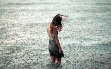 вода, девушка, настроение, одиночество, дождь