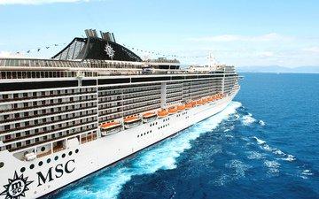 белый, судно, корпус, лайнер, пассажирский, msc, splendida