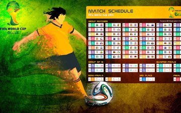 brazil, chempionat world cup 2014, table matches, schedule