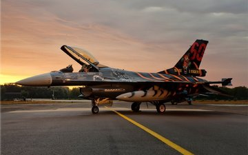 sunset, the plane, fighter, fighting falcon, f-16