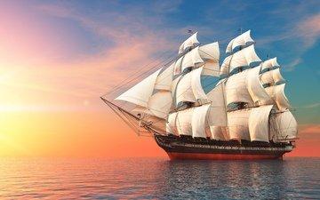 небо, море, корабль, плавание, паруса