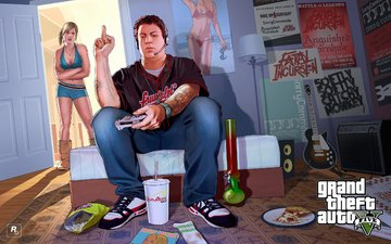 girl, room, boy, gta, grand theft auto v, rockstar games
