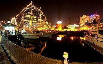 свет, ночь, огни, вода, отражение, корабли, яхты, город, лодки, причал, катера