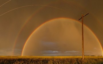the sky, the evening, landscape, rainbow