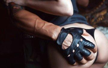 hand, glove, thong, ass