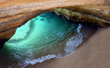скала, пляж, океан, грот