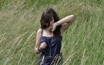 украшения, девушка, зеленые, колосья, пшеница, волосы, красивые, nature beauty