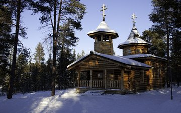 nature, temple, winter, finland, monastery. cathedral, lapland