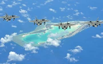 море, полет, остров, истребители, f-22 raptor, «раптор», многоцелевые