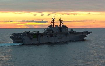 the evening, sunset, sea, uss wasp lhd1