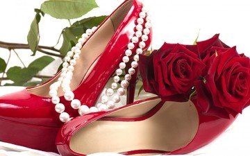 цветы, цветок, розы, роза, красный, романтика, обувь, краcный, мелодрама, жемчуг, колье, сексуальность, цветы, жемчужины, ожерелья, роз, цветком, сексапильная, башмаки