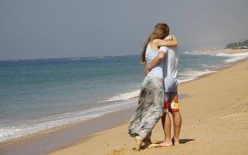девушка, фон, море, парень, любовь, пара, настроения, прогулка