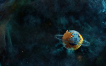 космос, планета, туманность, орбита, mozilla, фаерфокс