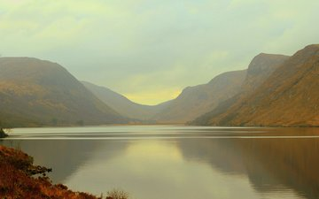 озеро, горы, утро, туман