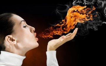 девушка, огонь, дым, дыхание, flames